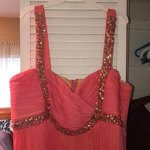 Long coral homecoming/prom dress